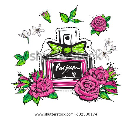 Smell fragrance classic french perfume white stock vector royalty smell and fragrance of classic french perfume white flowers roses flower buds mightylinksfo