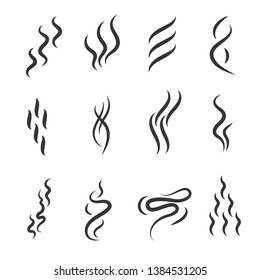 Smell Signs Black Thin Line Icon Set Include of Fume, Vapor, Scent, Odor and Aroma. Vector illustration of Icons