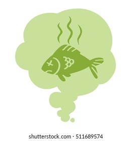 Smell. Stinky green cloud with dead fish. Isolated symbol. On white background.