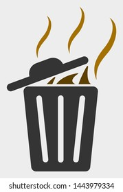 Smell Trash Can vector icon. A flat illustration design of Smell Trash Can icon on a white background.