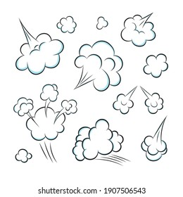 Smelling pop art comic book cartoon fart cloud flat style design vector illustration set. Bad stink or toxic aroma cartoon smoke cloud isolated on white background.