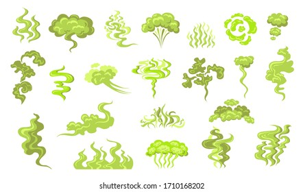 Smelling smoke flat icon kit. Cartoon bad odor cloud, green stinky aroma and dirt toxic steam vector illustration set. Smell breath and stink fart stench concept