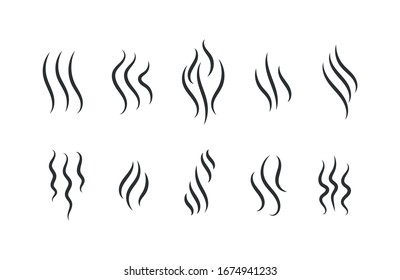 Smells line icon set, hot aroma, smells or fumes. Fragrances evaporate icons. Coffee, tea in cup. Symbols of glasses of hot drinks on white background. Vector illustration doodle hand drawn, EPS 10.