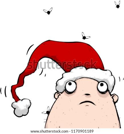 Smelly Christmas Man Wearing Santa Claus Stock Vector Royalty Free