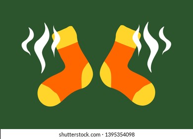 Smelly socks - unpleasant odor / odour from foot and footwear. Vector illustration
