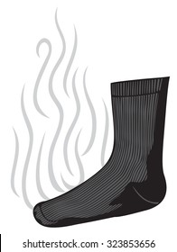 smelly (stinky) sock with a bad smell