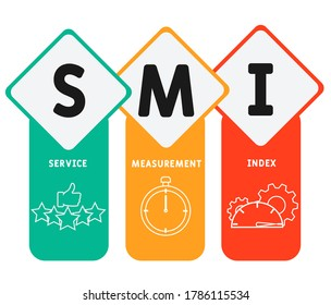 SMI - Service Measurement Index acronym, business concept. word lettering typography design illustration with line icons and ornaments.  Internet web site promotion concept vector layout.