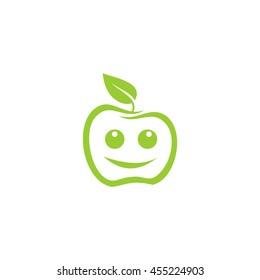 Smile apple icon, Green apple logo.