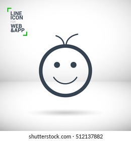 Smile baby isolated single linear icon for websites and mobile minimalistic flat design.