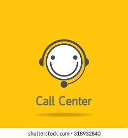 smile call center icon on yellow background : logo vector