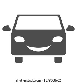 Smile car vector pictogram. Style is flat graphic grey symbol.