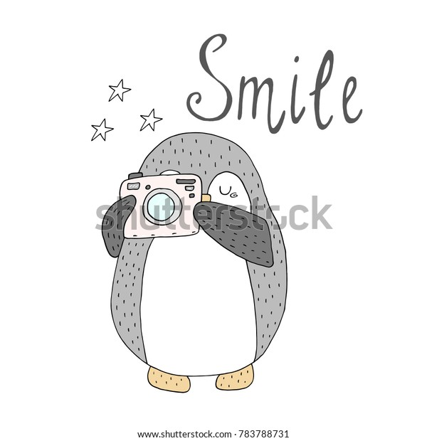 image relating to Camera Printable referred to as Smile Card Penguins Digital camera Printable Templates Inventory Vector