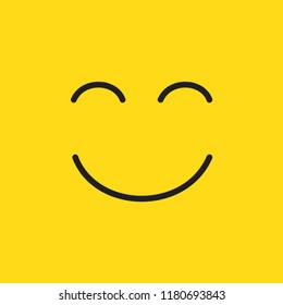 Smile cartoon icon happy emotion on yellow background flat design