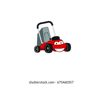 Smile Cartoon Lawn Mower Mascot Logo Design Template