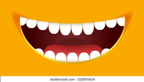 Smile constructor cartoon smiley emoticon emoji yellow mouth smiles vector design