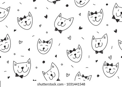 smile cats faces pattern, vector seamless background