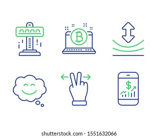 Smile chat, Bitcoin and Touchscreen gesture line icons set. Attraction, Resilience and Mobile finance signs. Happy face, Cryptocurrency laptop, Swipe. Free fall. Technology set. Vector