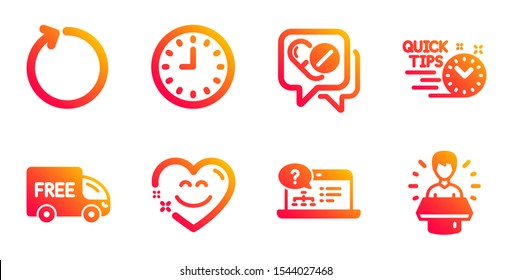 Smile chat, Loop and Free delivery line icons set. Clock, Medical drugs and Quick tips signs. Online help, Brand ambassador symbols. Heart face, Refresh. Business set. Vector