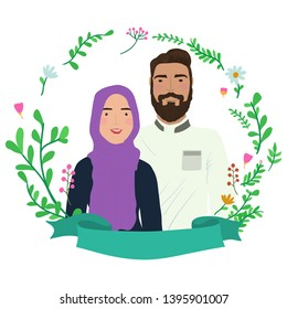 Smile couple in floral wreath frame. Muslim characters. Save the date.
