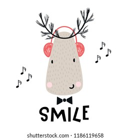 Smile - Cute deer with headphones and lettering. Hand drawn kids nursery poster in scandinavian style. Vector illustration.
