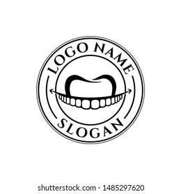 Smile dental logo vector for adult and mature  treatment people vintage hand drawn business. Professional  safety and care to family.