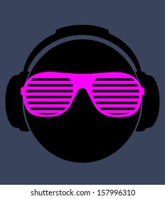 f797d212177f ray ban vector. smile dj in headphone. vector print illustration