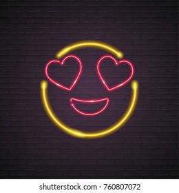 Smile Emoji Symbol Neon Light Glowing Vector Design Illustration