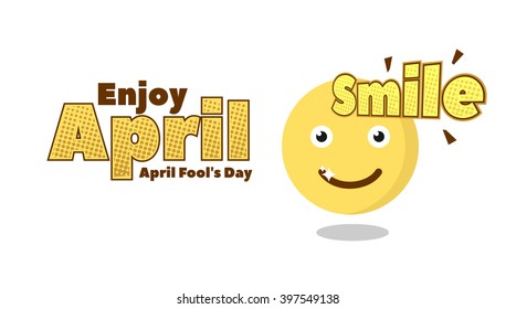Smile Emoticon for April Fools Day. Banner Template. Vector Illustration. Eps.10