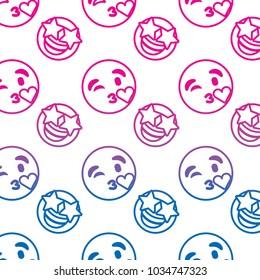 smile emoticon emoji faces kiss star happy pattern