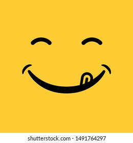smile emoticon with tongue on yellow background