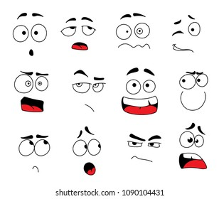 Smile emoticons and emoji faces icon set for chat or social net web application. Vector line design isolated set of smiles emoji comic expressions winking, laugh or upset and angry or sad and crying