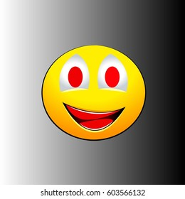 Smile emotions with red teeth on a gray background. Vector illustration
