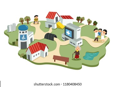 smile face disability people with family, elderly person in peaceful environment included house hospital and health service centre cute style cartoon drawing picture flat design