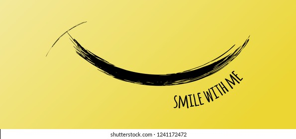 Smile Face from Funny Black Brush Stroke, Vector Horizontal Banner. Smile With Me Quote. Inspirational and Motivational Graphic Illustration with Black Texture on Yellow. Enjoy Card.
