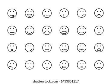 Smile Face Icon Set on White Background