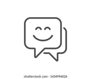 Smile face line icon. Happy emoticon chat sign. Speech bubble symbol. Quality design element. Linear style smile face icon. Editable stroke. Vector