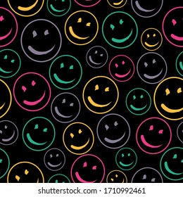 Smile Face Seamless Pattern.  Vector Background Texture. For print, icon, logo, poster, symbol, design, decor, textile, paper, card, invitation, holiday. Eps10.