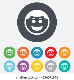 Smile face sign icon. Happy smiley with hairstyle chat symbol. Round colourful 11 buttons. Vector