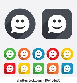 Smile face sign icon. Happy smiley chat symbol. Speech bubble. Circles and rounded squares 12 buttons. Vector