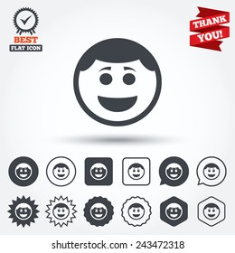 Smile face sign icon. Happy smiley with hairstyle chat symbol. Circle, star, speech bubble and square buttons. Award medal with check mark. Thank you ribbon. Vector