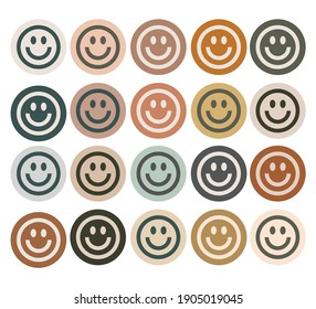 smile face stickers with bohemian colors
