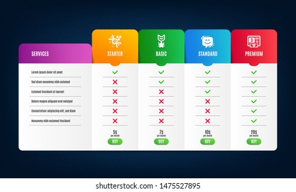Smile face, Winner medal and Chemistry dna icons simple set. Price list, pricing table. Bitcoin atm sign. Chat, Ranking star, Chemical formula. Cryptocurrency change. Technology set. Vector