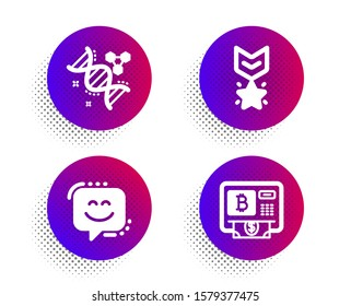 Smile face, Winner medal and Chemistry dna icons simple set. Halftone dots button. Bitcoin atm sign. Chat, Ranking star, Chemical formula. Cryptocurrency change. Technology set. Vector