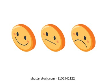 Smile faces rating feedback isometric set, isolated vector illustration. Different expression smiley. Emoticon with positive, negative and neutral opinion for rate scale or customer quality service.