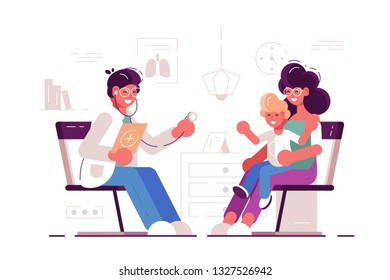 Smile family doctor with happy Mothers And Kid in pediatrician hospital room. examining child with stethoscope. The Doctor listens to breathing stethoscope kid who sits in on her mother's lap. Flat.