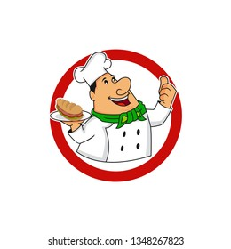Smile Fat Dady Chef Character Simple Design