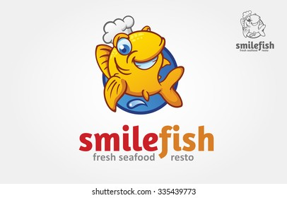 Smile Fish Vector Logo Illustration. Vector funny golden fish with a chef's hat. Logo Cartoon Character.