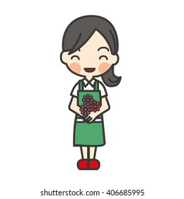 smile florist hold flower  in green apron red shoe