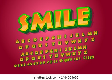 Smile font.Condensed display font popart design, alphabet, letters and numbers. Swatch color control