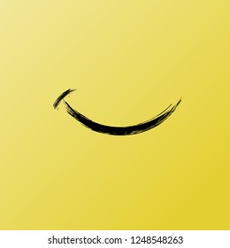 Smile from Funny Brush Vector Icon. Inspirational and Motivational Graphic Illustration with Black Texture on Yellow. Boost your Mood Smiley, Enjoy Card. Wellbeing and Carefree. Social Media Chat Sign